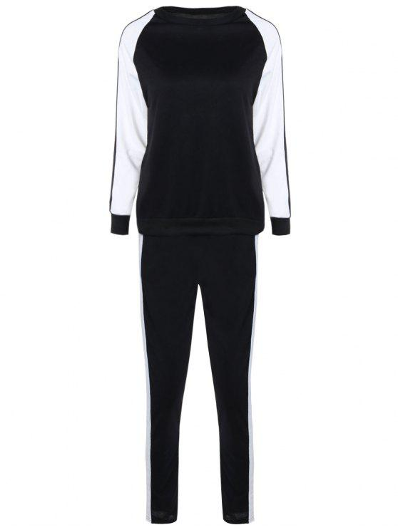 latest Contrast Sleeve Sweatshirt and Pants - WHITE AND BLACK S