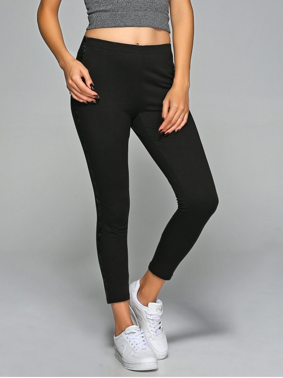 latest Elastic Waist Slim Ankle Gym Pants - BLACK S