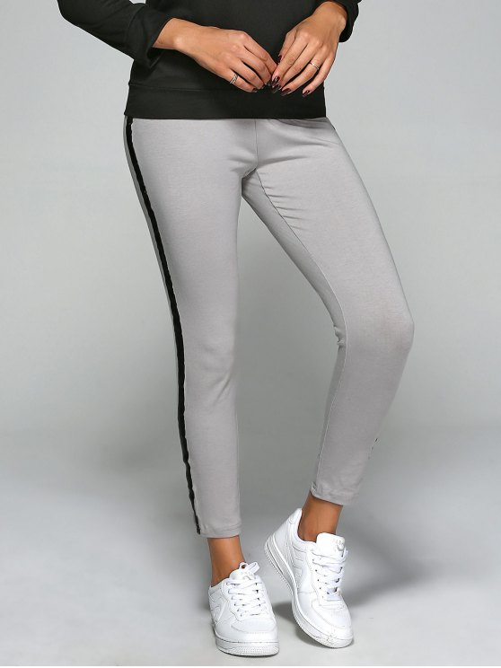 fancy Elastic Waist Slim Ankle Gym Pants - GRAY S