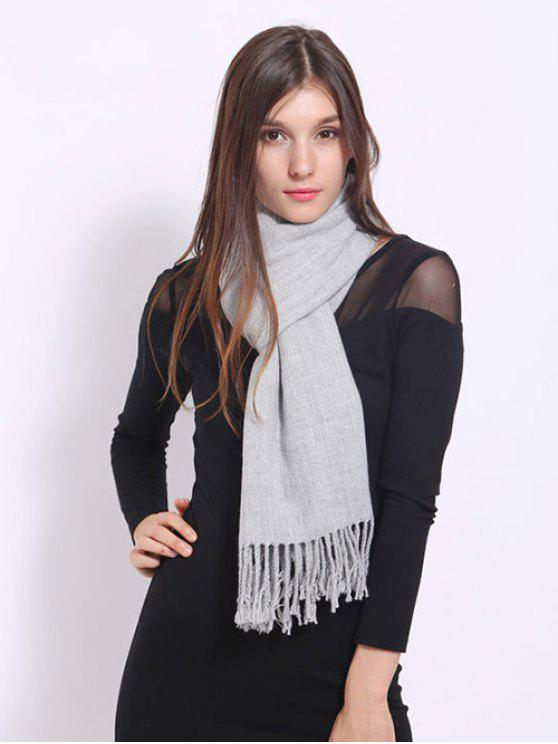 womens Faux Cashmere Fringe Scarf - LIGHT GRAY