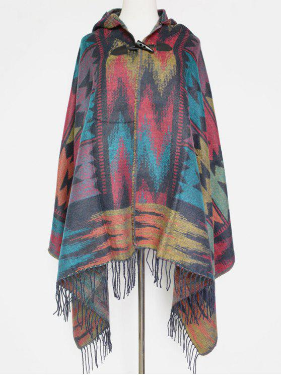 women's Grometric Fringe with Hat Poncho - GRAY