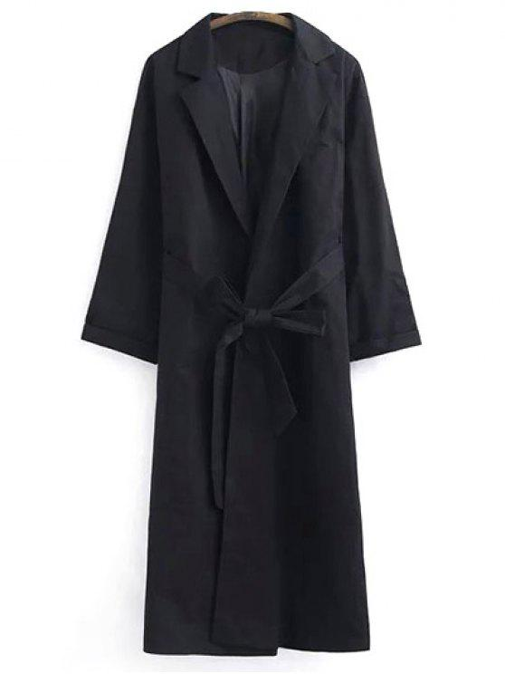 hot Belted Lapel Trench Coat - BLACK S