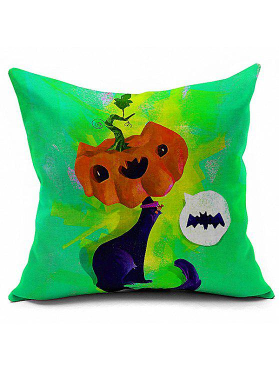 affordable Halloween Cartoon Fox Pumpkin Printed Sofa Cushion Pillow Case - COLORMIX