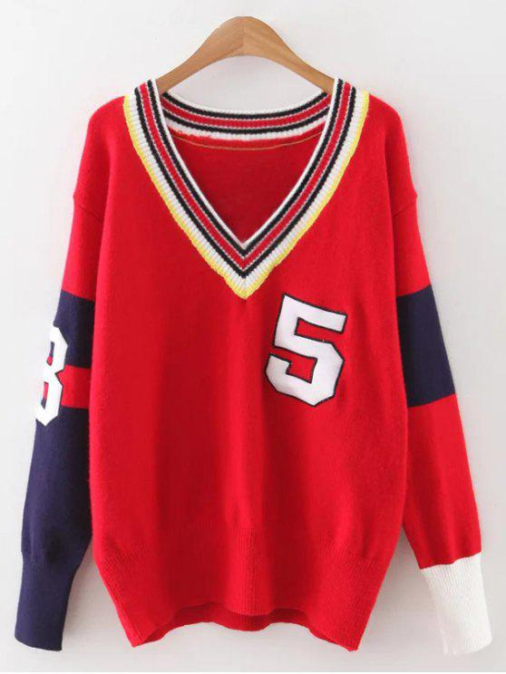 affordable Sports Color Block Knitwear - RED ONE SIZE