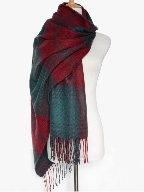 Doble color de la tela escocesa de la bufanda de la franja - Dark Red