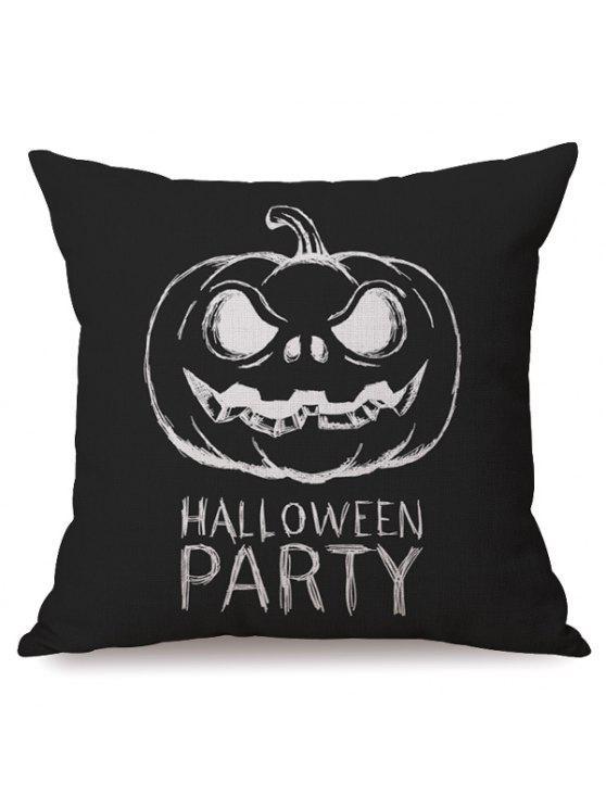 Case antibactérienne Sofa Cushion Party Halloween Pumpkin Imprimé Oreiller - Noir