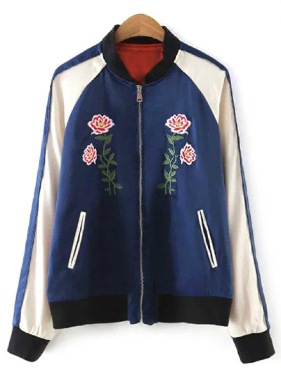 women Color Block Floral Jacket - PURPLISH BLUE M