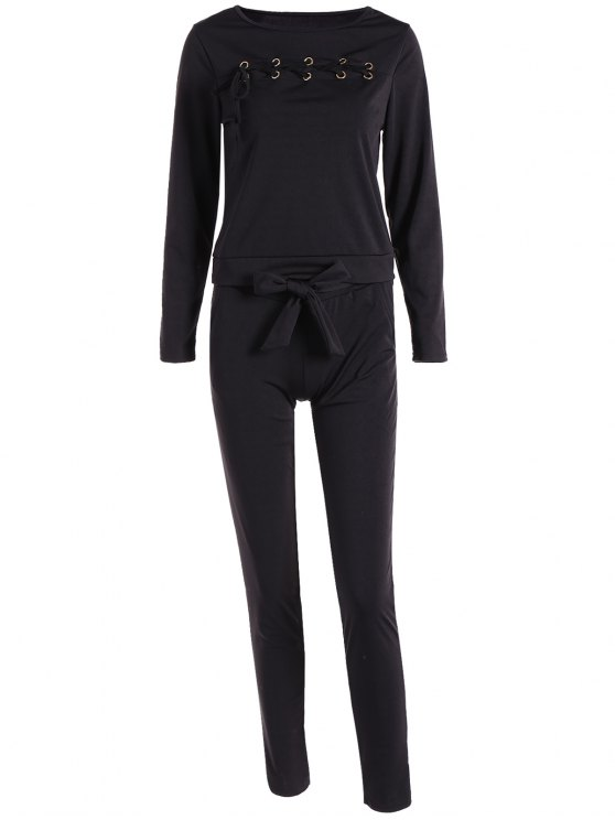 fashion Lace Up Long Sleeve Top + Pants - BLACK M