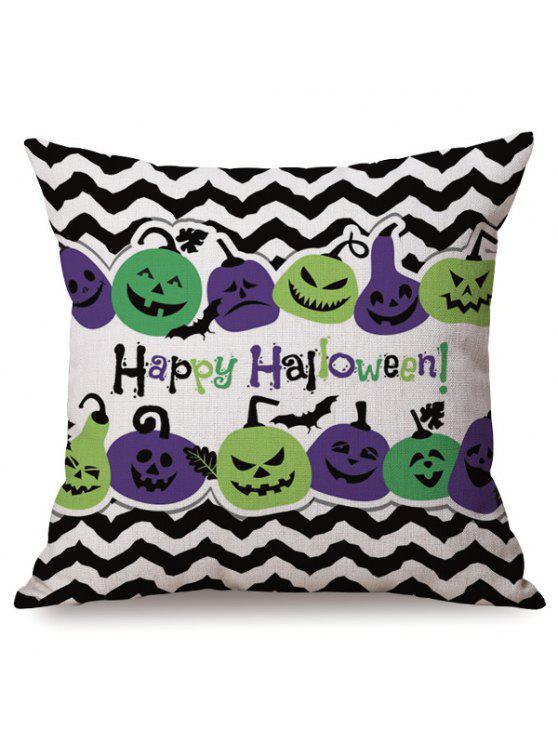 Antibactérienne Halloween Sofa Coussin Vague Stripe Citrouilles Imprimé Taie d'oreiller - Multicolore