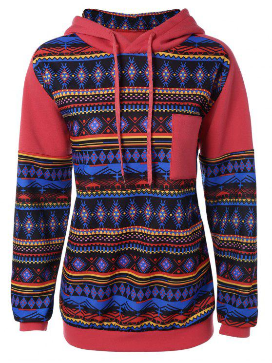 women's Thick Geometric Hoodie - RED S