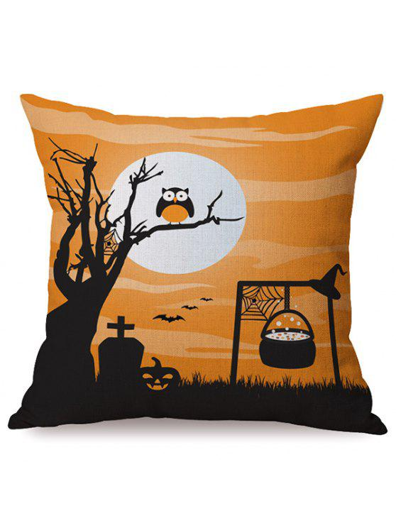 Durable Owl Halloween Sofa Cushion Pillow Case Imprimé - Multicolore