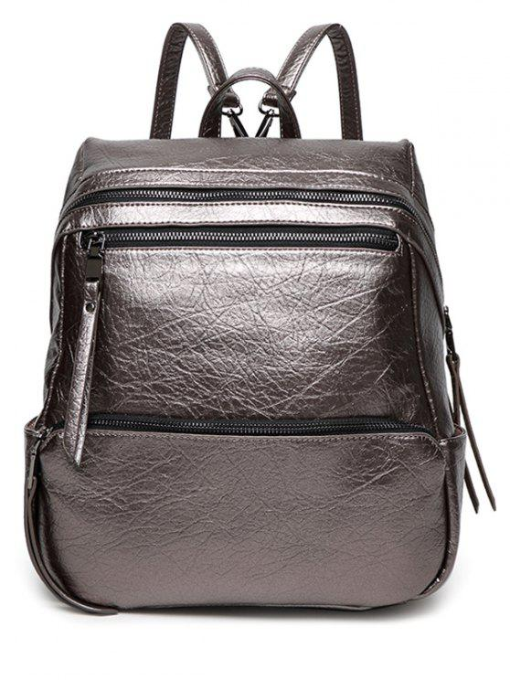 shops Zippers Metallic PU Leather Backpack - GUN METAL