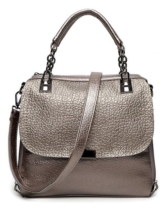 affordable Textured Leather Metal Chain Tote Bag - GUN METAL
