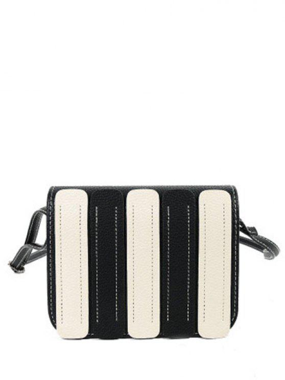 outfit Stitching Covered Closure Color Spliced Crossbody Bag - BLACK
