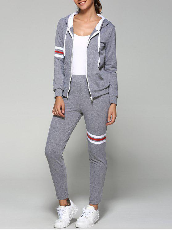 Zip activa hasta sudadera con capucha y pantalones - Gris M
