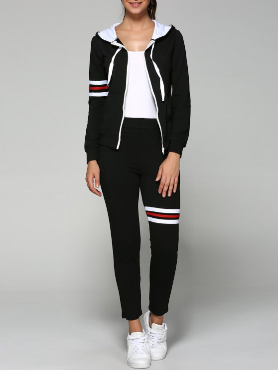 Zip Up Hoodie actif et pantalon - Noir 2XL