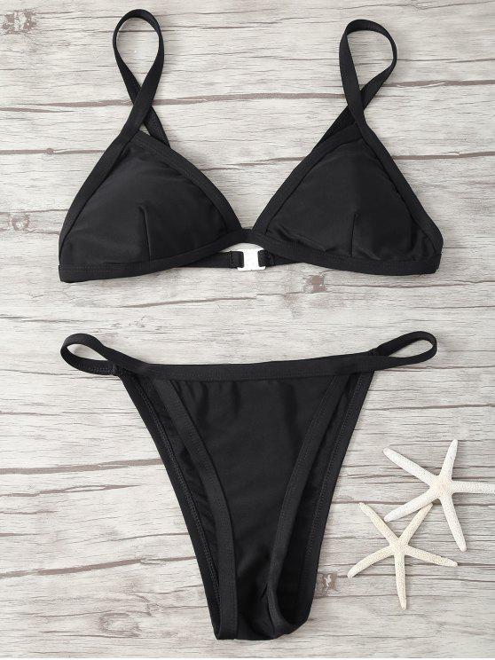 fancy Spaghetti Strap Low Waisted Bikini - BLACK L