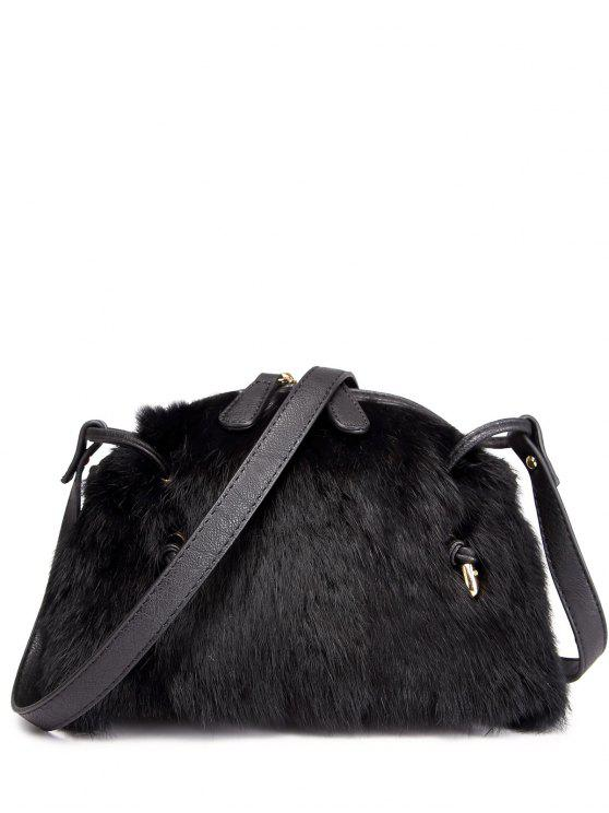 chic PU Leather Splicing Fuzzy Bag - BLACK