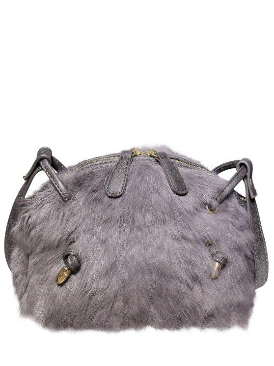 fancy PU Leather Splicing Fuzzy Bag - GRAY