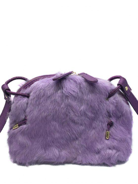 Splicing PU Leather Bag Fuzzy - viola