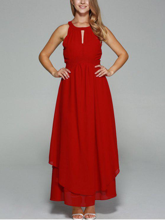trendy Sleeveless Chiffon Wine Red Maxi Dress - WINE RED XS