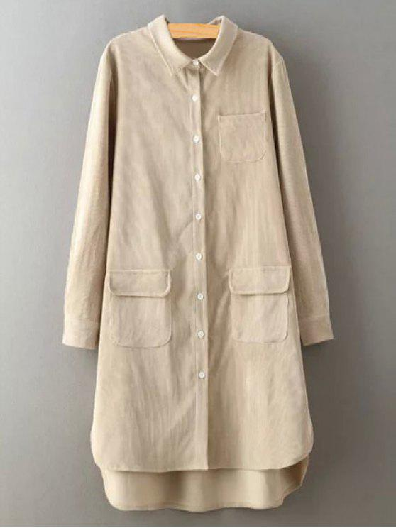 outfit Corduroy High-Low Shirt - CRYSTAL CREAM S