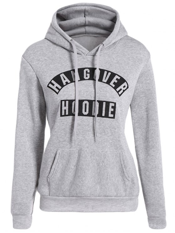 fancy Front Pocket Letter Print Drawstring Hoodie - LIGHT GRAY L