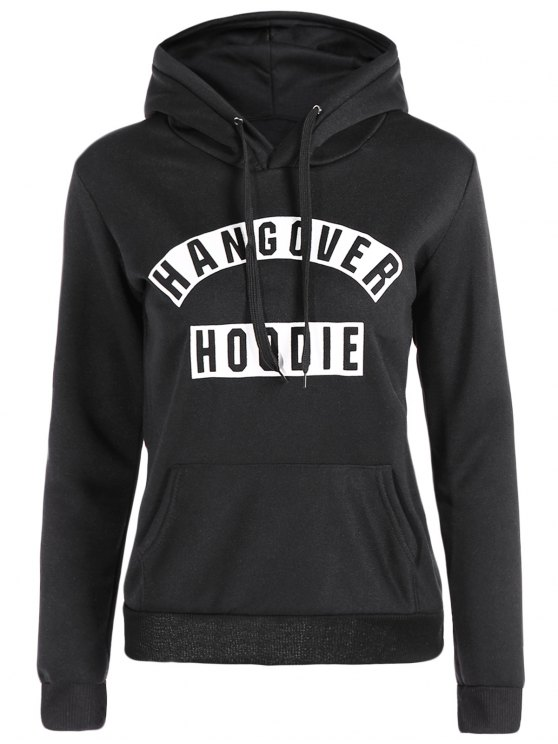 womens Front Pocket Letter Print Drawstring Hoodie - BLACK M