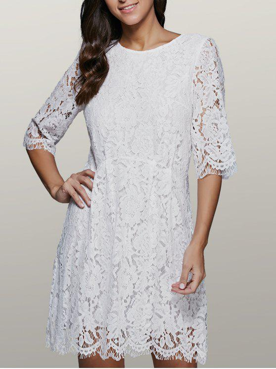 best Lace Skater Dress - WHITE XL