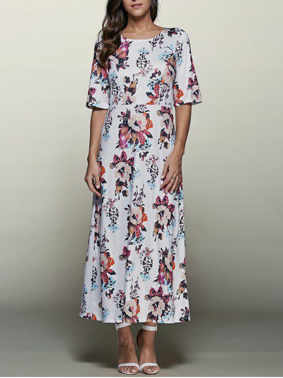 women Elbow Sleeve Maxi Dress - WHITE S