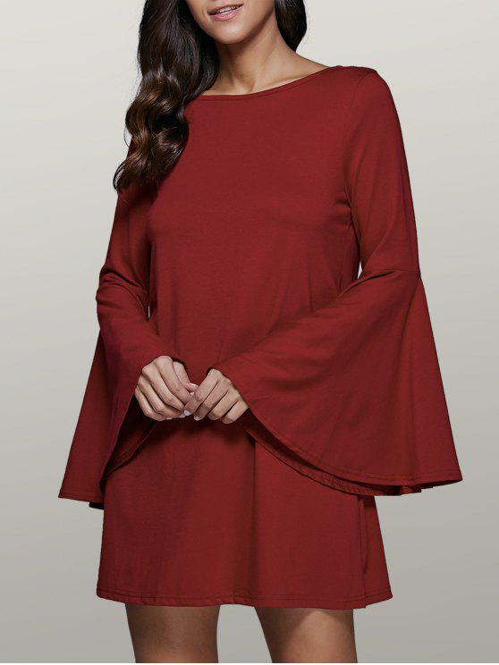 women's Flare Sleeve Swing Dress - DARK RED M