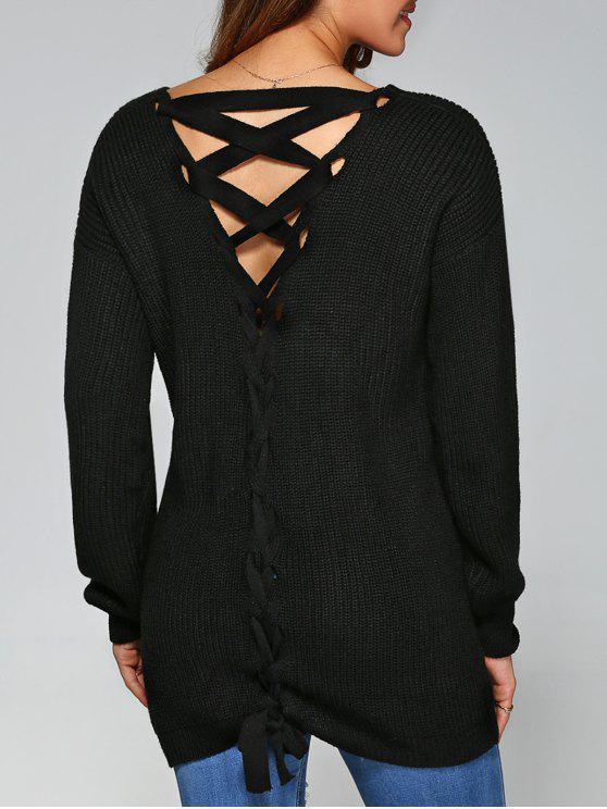 women's Drop Shoulder Lace Up Sweater - BLACK L