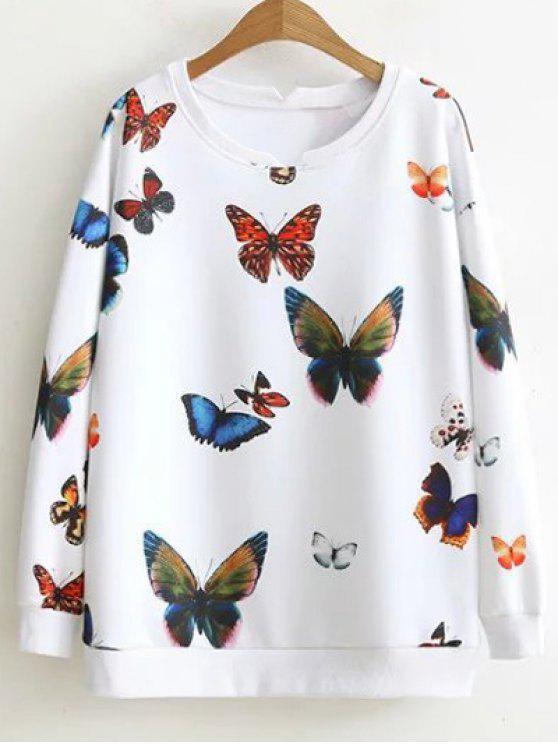 women's Colorful Butterfly Sweatshirt - WHITE XL