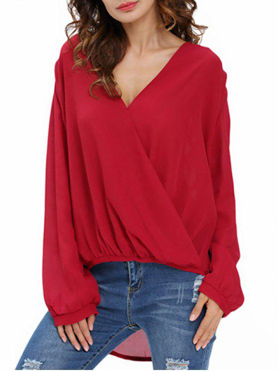 fashion Draped Front Crossover Chiffon Top - WINE RED 2XL
