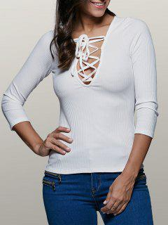 Lace-Up Stretchy Plunging Neck T-Shirt - White L