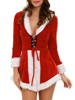 Velvet Contrast Trim Dress With Santa Hat - Red With White