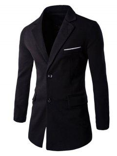 Slim Fit Lapel Collar Back Slit Blazer - Black Xl