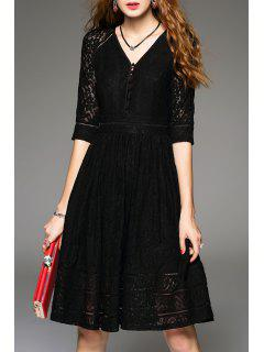 V Neck Knee Length Lace Dress - Black 2xl