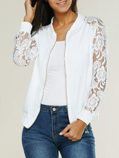 Lace Insert Bomber Zip Up Jacket - Blanco L