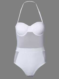 One-Piece Bandeau See Through Bathing Suit - White L