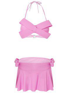 Halter Bowknot Padded Skirtini - Pink L