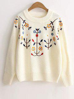 Floral Embroidery Sweater - Blanc