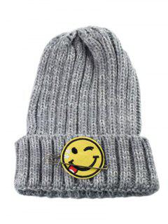 Smile Face Pin Knitted Hat - Gray