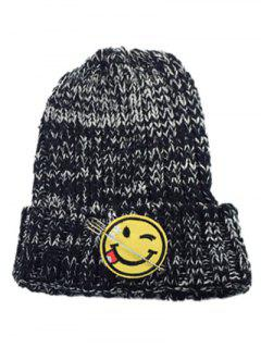 Smile Face Pin Knitted Hat - Black