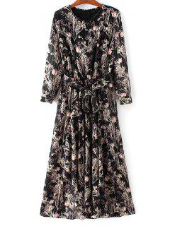 Chiffon Belted Floral Dress - Black M