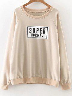 Raglan Sleeve Graphic Pullover Sweatshirt - Khaki M