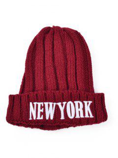 Embroidery New York Knitted Hat - Deep Red