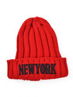 Embroidery New York Knitted Hat - Red
