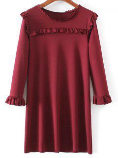 Flare Jabot Mini Robe à Manches - Rouge Vineux  S