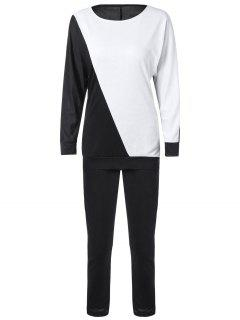 Long Sleeve Color Block Sweatshirt Avec Pants - Blanc Et Noir L